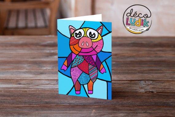 Le cochon carte de souhait