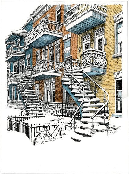 Escaliers de Montréal L3MC 8 1/2 x 11
