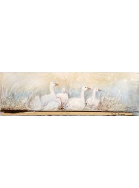 "Carole Laurence White geese 6""x18"""
