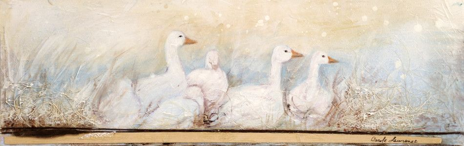 """Carole Laurence White geese 6""""x18"""""""