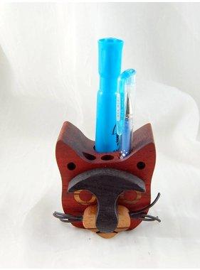 Alain Mailhot - Sculpteur 1 Cat head - Crayon holder