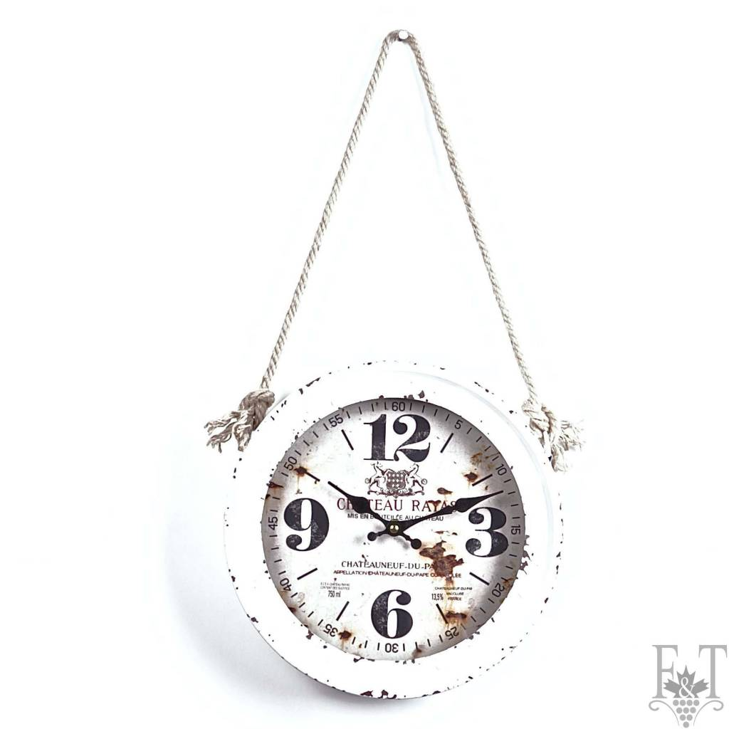 Antique White Wall Clock with a Rope, Rustic Collection, White