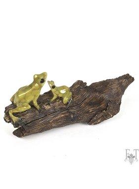 Frog Sitting on the Log Figurine