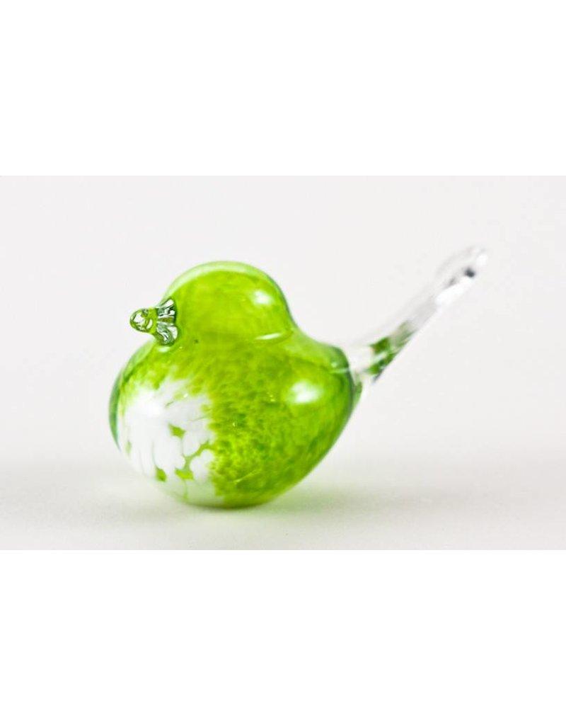 Oiseau vert lime - Verre soufflé