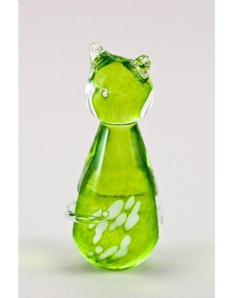 Chat vert lime - Verre soufflé