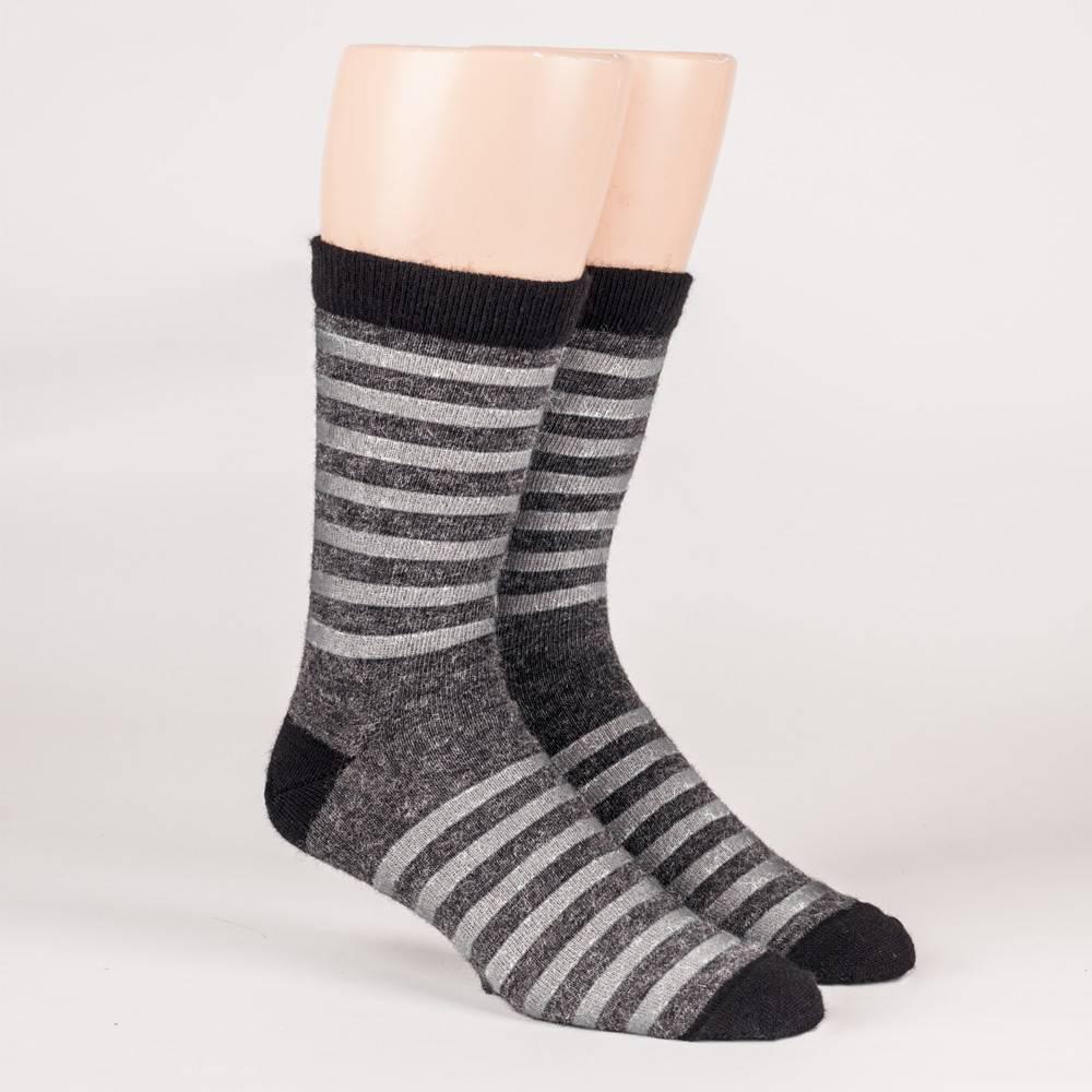 Dress striped socks - 70% Alpaca Grey