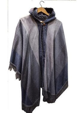 1 Poncho à capuche en laine d'Alpaga - Choix de couleur