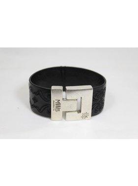 Bracelet Canadian de cuir gravé noir