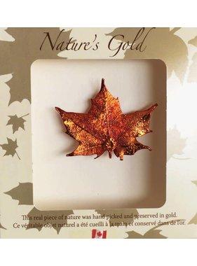 Nature's Gold Maple Leaf Broche - Feuille d'érable plaquée or Iridescent