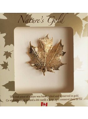 Nature's Gold Maple Leaf Broche - Feuille d'érable plaquée en Or