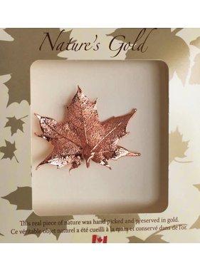 Nature's Gold Maple Leaf Broche - Feuille d'érable plaquée en Bronze