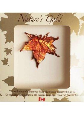 Nature's Gold Maple Leaf 1 Collier feuille d'érable plaquée en Or Iridescent