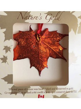 Nature's Gold Maple Leaf 1 Ornement feuille d'érable plaquée en Or Iridescent