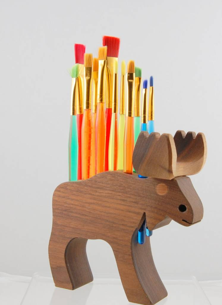 Alain Mailhot - Sculpteur Brush Holder - Moose