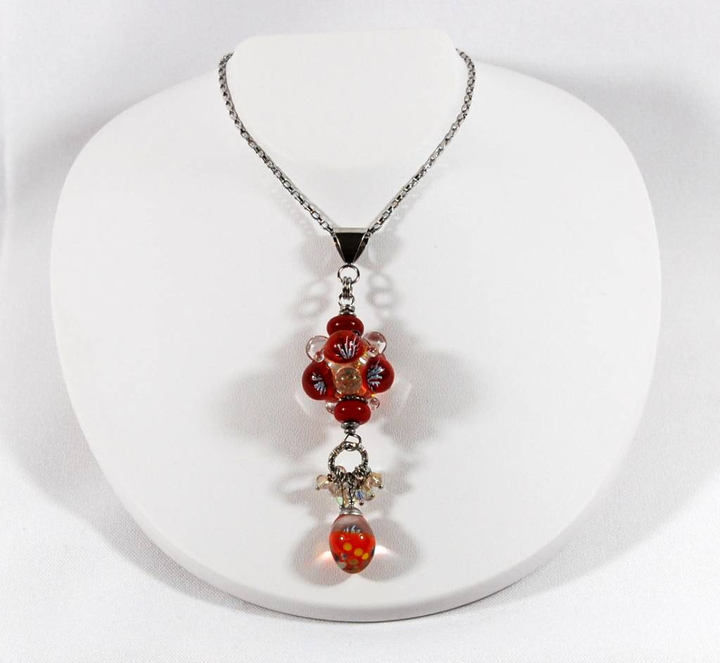 Long red Bubbles necklace