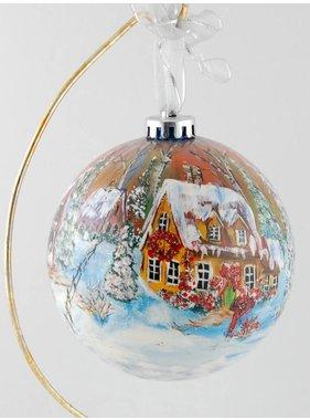 Ghislaine Bergeron Boule Noel peinte à la main  #78