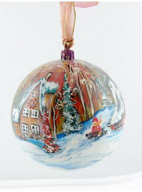 Ghislaine Bergeron Boule Noel peinte à la main #85