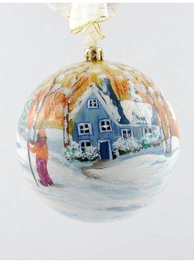 Ghislaine Bergeron Boule Noel peinte à la main #89