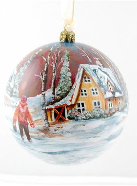 Ghislaine Bergeron Boule Noel peinte à la main #01