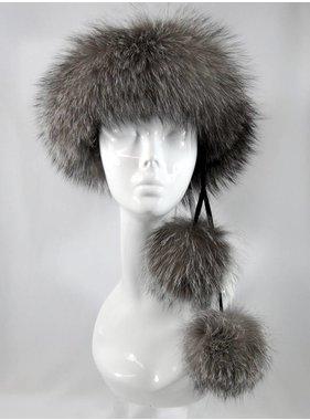 Fox pom headband # 123 indigo