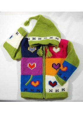 1 Veste Coeur tricotée à la main - Lime