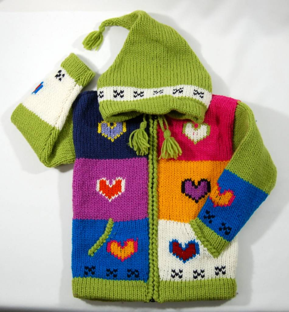 Veste Coeur tricotée à la main - Lime