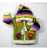 Veste Fleur tricotée à la main - Lime