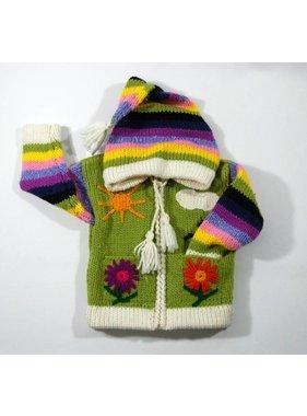 1 Veste Fleur tricotée à la main - Lime
