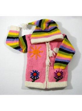 Veste Fleur tricotée à la main - Rose