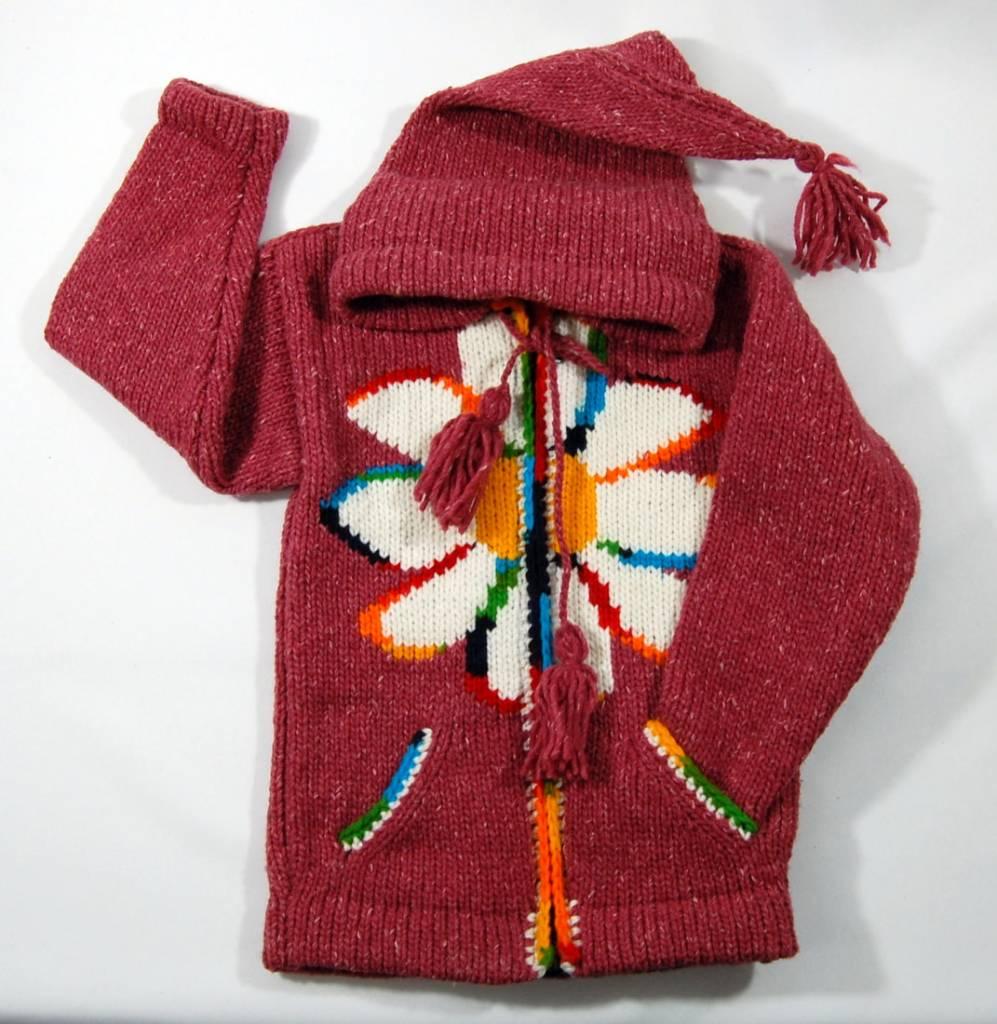 Veste tricotée à la main - Rouge