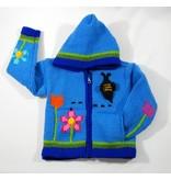 Veste tricotée à la main - Jardins bleu