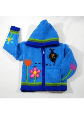 Alpaca TC Hand-knitted jacket - Blue Garden
