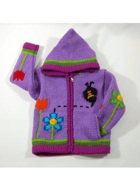 Veste tricotée à la main - Jardins mauve