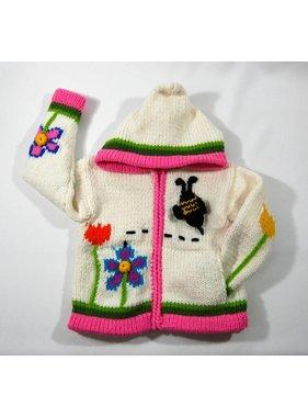 Veste tricotée à la main - Jardins blanc