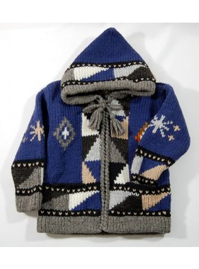 1 Hand-knitted jacket - Blue