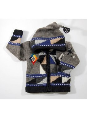 Hand-knitted jacket - Grey