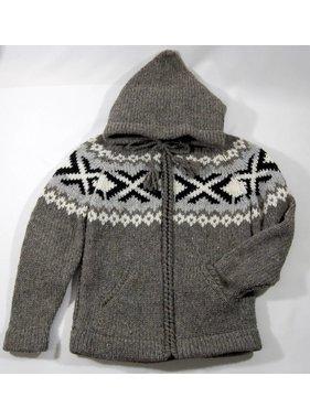 Alpaca TC Veste tricotée à la main - Gris