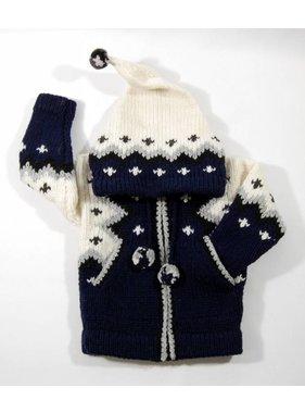 Alpaca TC Veste tricotée à la main - Bleu marin
