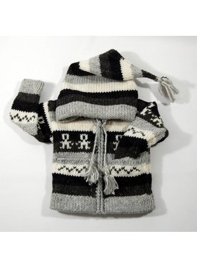 Hand-knit striped jacket - Gray and black
