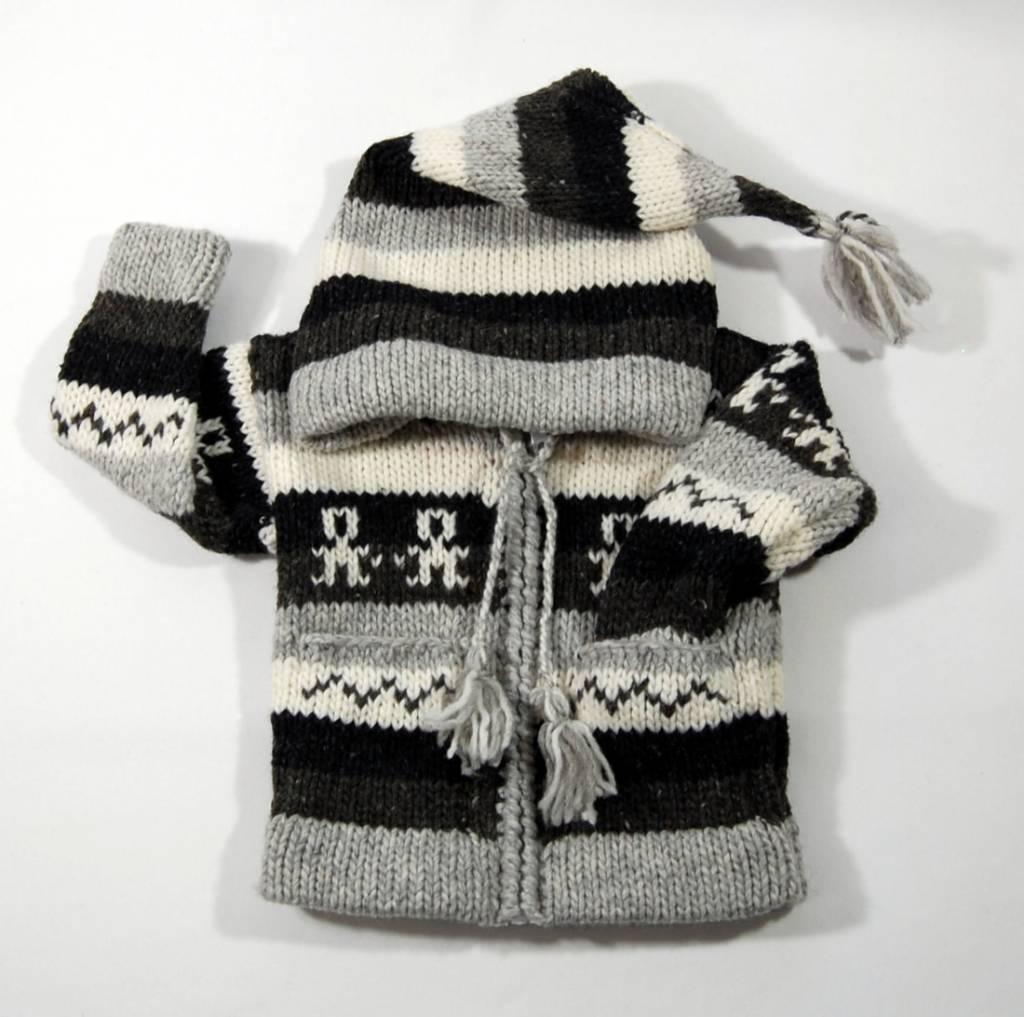Veste rayé tricotée à la main - Gris et noir