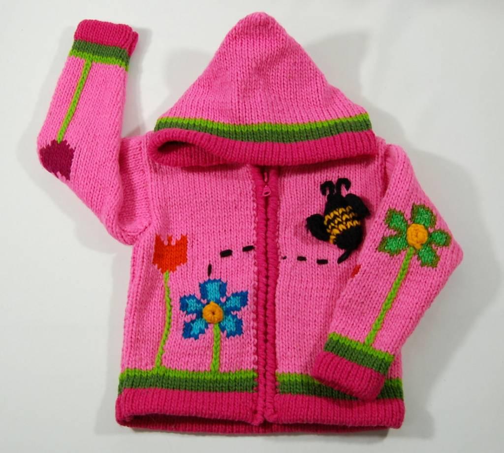 Veste tricotée à la main - Jardins rose