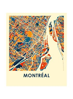 Montreal Map Print color 8 x10
