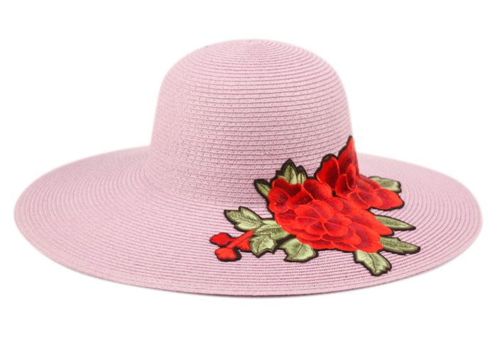 Chapeau de paille brodé de fleur