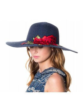 BRAID STRAW FLOPPY HATS WITH FLORAL EMBROIDERY