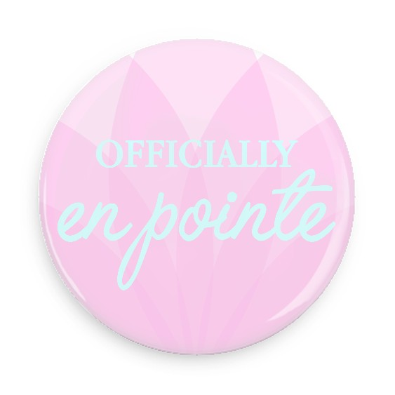 B Plus Printworks Officially En Pointe Pocket Mirror (Pink Flower with Blue Writing)