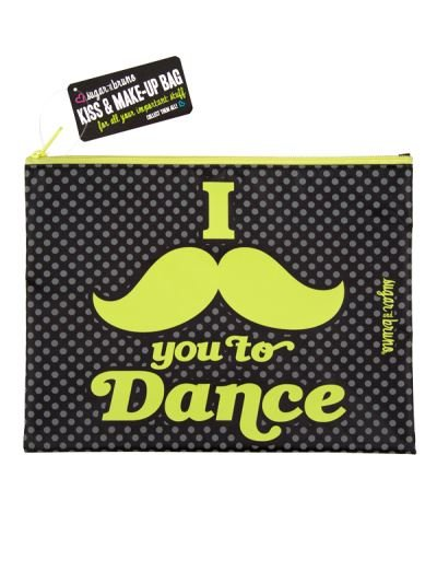 Sugar and Bruno I Mustache You Kiss & Make-Up Bag