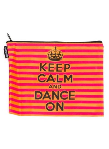 Sugar and Bruno Keep Calm Pink & Orange Kiss & Make-Up Bag