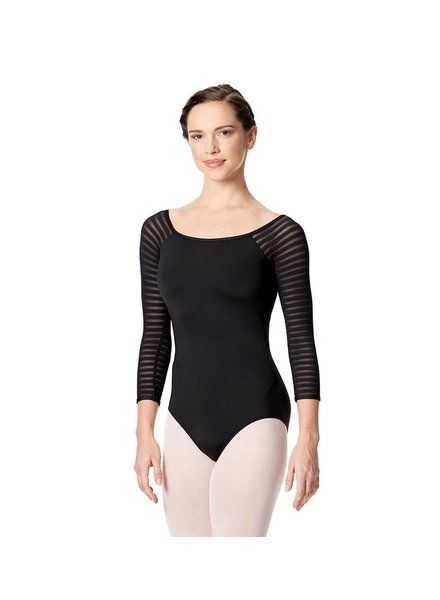 Lulli Milena 3/4 Striped Mesh Sleeve Leotard