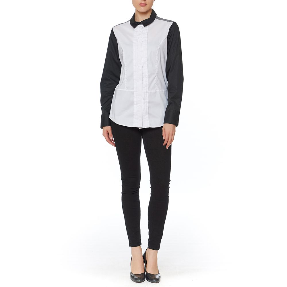 RAVEL BUTTON DOWN BLOUSE W/BLK SLEEVES