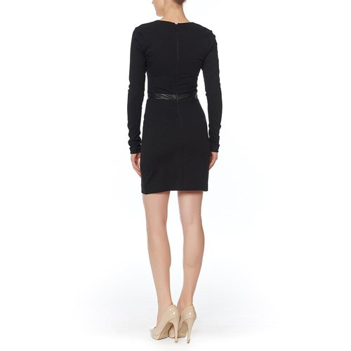 NICOLE MILLER NICOLE MILLER L/S PONTE & LEATHER COMBO DRESS